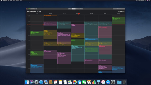 Calendar In Darkmode