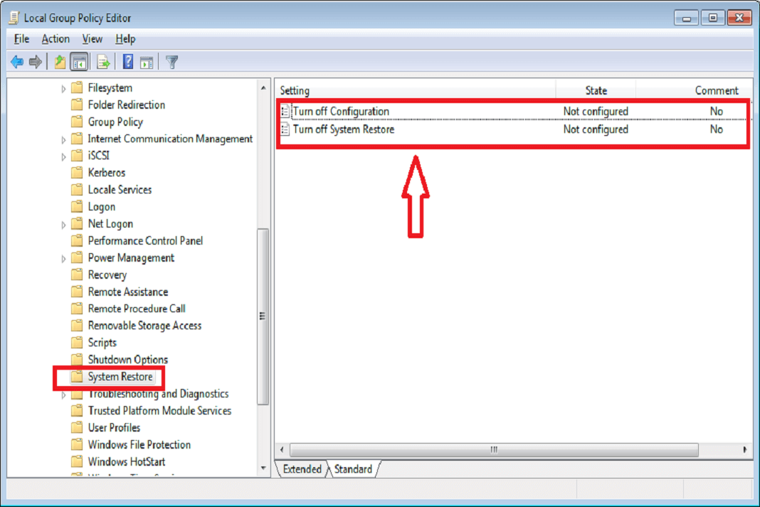 Enable system restore from group policy