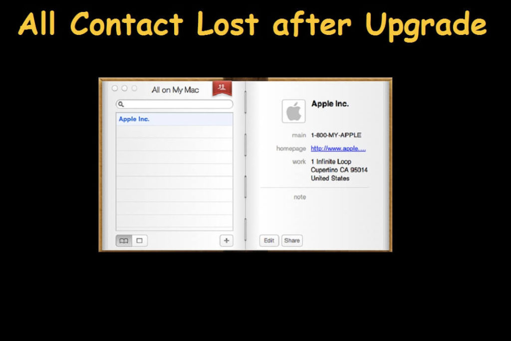 All contacts gone after Yosemite upgrade