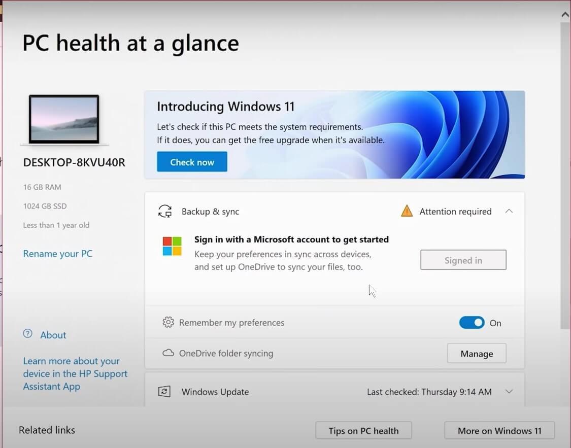 windows pc health checker