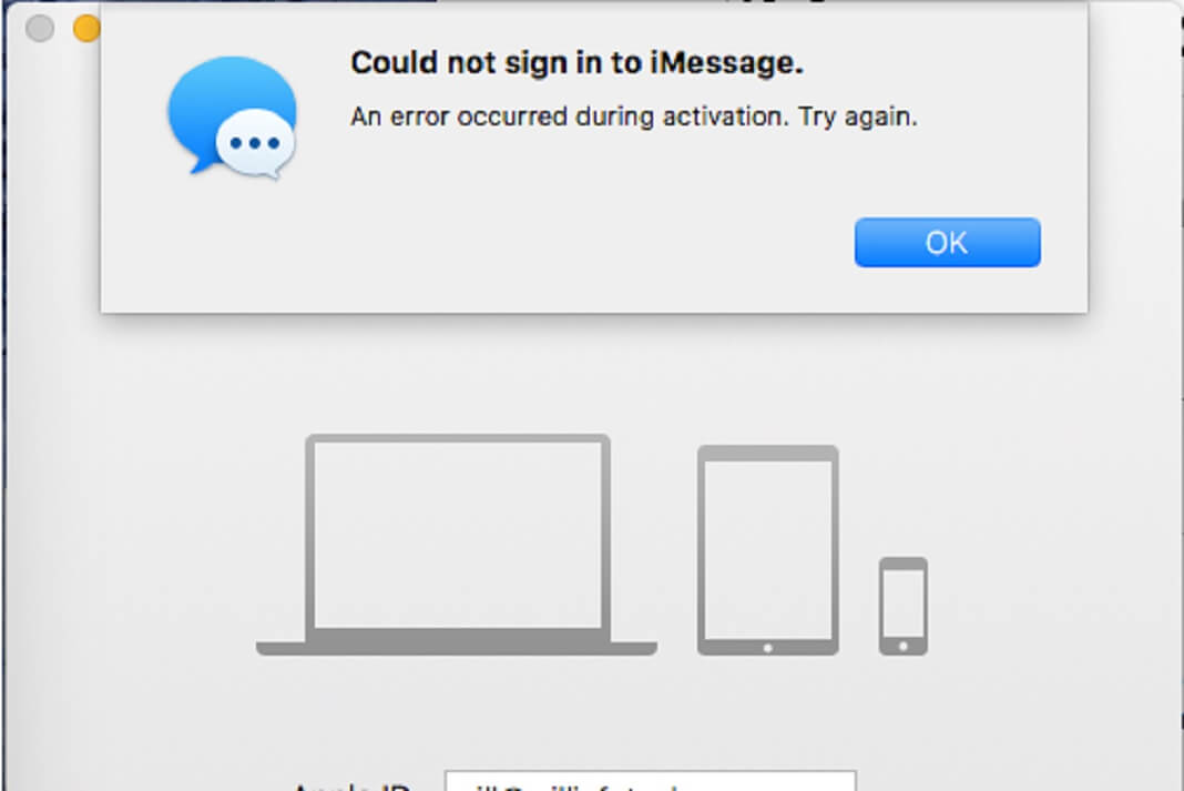 iMessage activation error on Mac