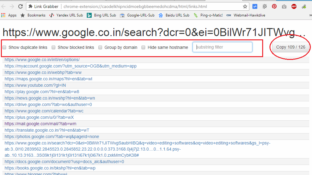 How to Copy all the Links from Google Search Results into a