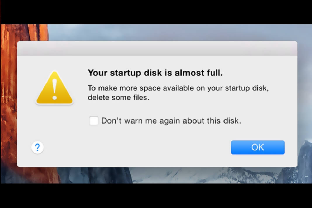 macOS Sierra: Your Startup Disk Is Almost Full message