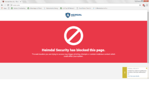 Harmful Website Blocked by Heimdal PRO's DarkLayer GUARD